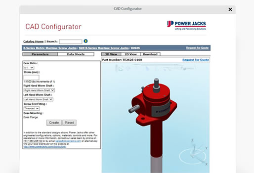 power jacks CAD product configurator